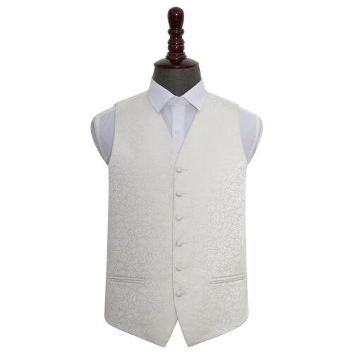 DQT Woven Swirl Patterned Ivory Formal Mens Wedding Waistcoat S-5XL