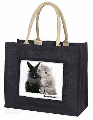 Kaninchen und Kätzchen' Soulmates große schwarze Einkaufstasche