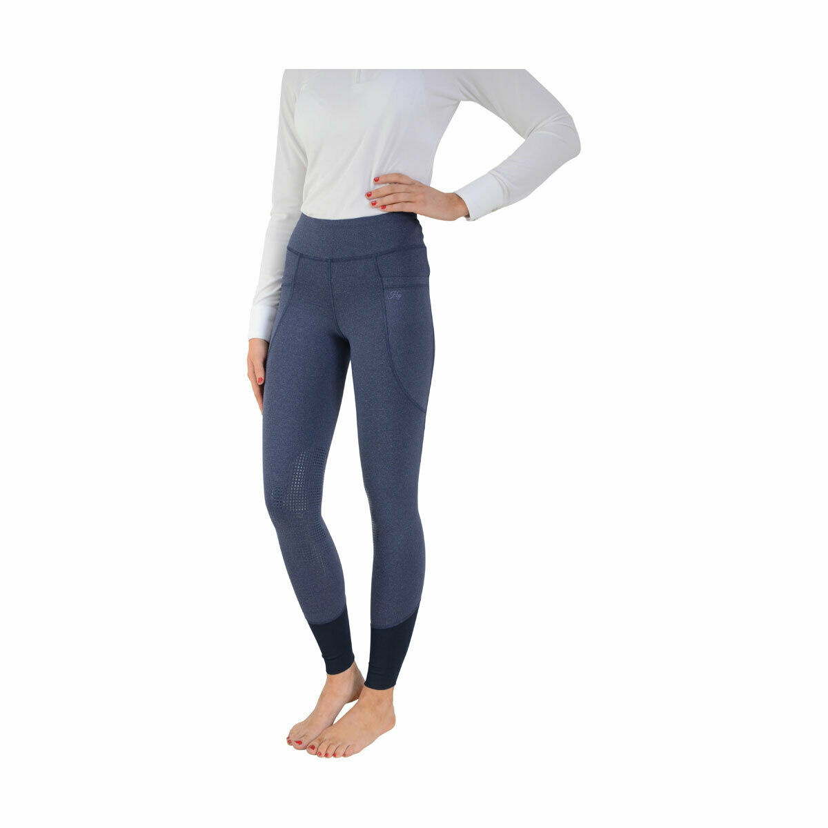 HY Performance Donna Cartmel Riding Skins Leggings Collant Blu Melange XSXL