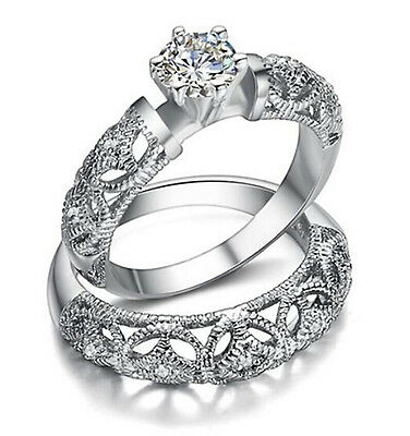 Women S Vintage Style Engagement Ring Antique Wedding Ring Set