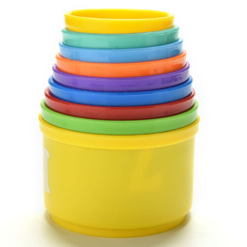 9X Stack/&Nest Plastic Cups Rainbow Stacking Tower Educational Stacking Kid ToyBI