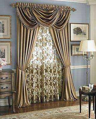 Hyatt Royal Velvet sheer floral valance -- lana - gold