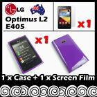 LG Optimus L2 E405 Purple Soft Jelly TPU Gel Skin Case Cover Screen Protector