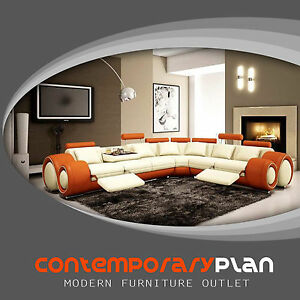Details about Contemporary Italian Design Ivory &Orange Franco Modern  Sectional Designer Sofa
