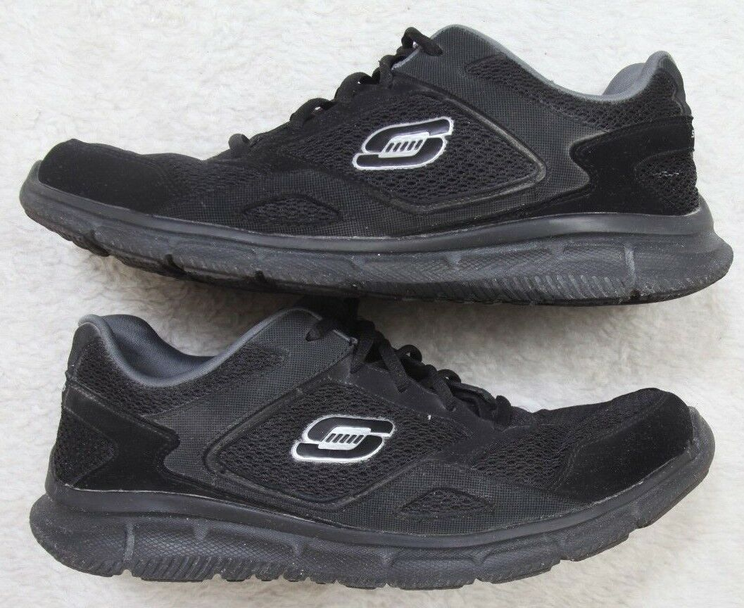 Skechers Lightweight Athletic Running shoes 10.5 Ten 1 2 Men's Black Memory Foam