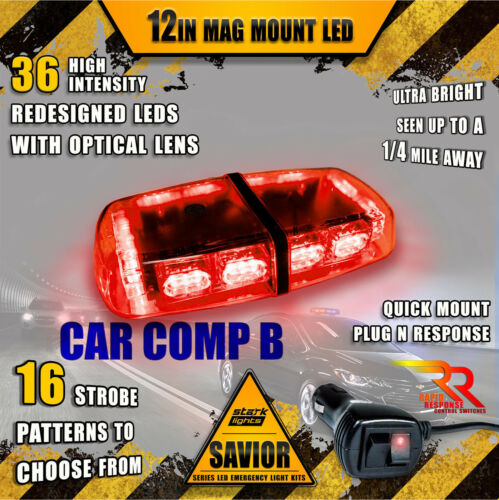 36 LED Light Bar Top Oval Magnetic Flashing Hazard Roof Emergency Strobe RED
