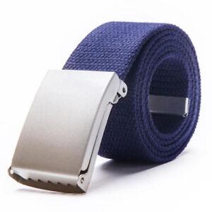 Sale Military Style Webbing Silver Brass Tan Buckle Waist Belt Metal Canvas
