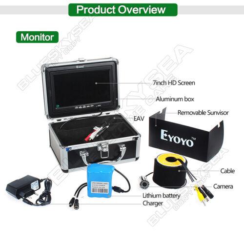 "EYOYO 15m 7/"" Underwater Fishing Camera Fish Finder 8GB DVR White LED HD 1000TVL"