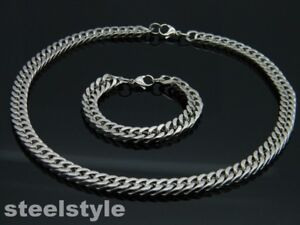 HIGH QUALITY STAINLESS STEEL 316L NECKLACE AND BRACELET  SET SILVER
