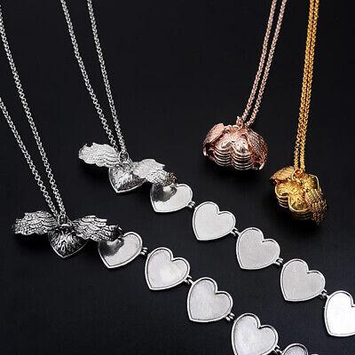Creative Expanding 4 Photos Locket Necklace Ball Angel Wing Pendant Memorial HK
