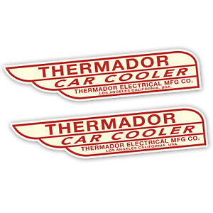 2x-THERMADOR-CAR-COOLER-LARGE-STICKER-swamp-cooler-red-amp-cream-NEW