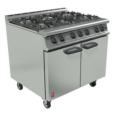 G3101 NEW FALCON DOMINATOR COMMERCIAL SIX BURNER OVEN RANGE ON CASTORS 6 B GAS
