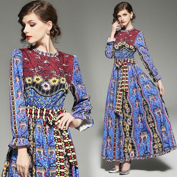 Kleid lang kleid schaukel frau élégant blau bunt mode hülle 4821