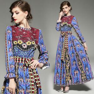 Elegante larga azul moda manga 4821 vestido acampanado EBB0qr5xw