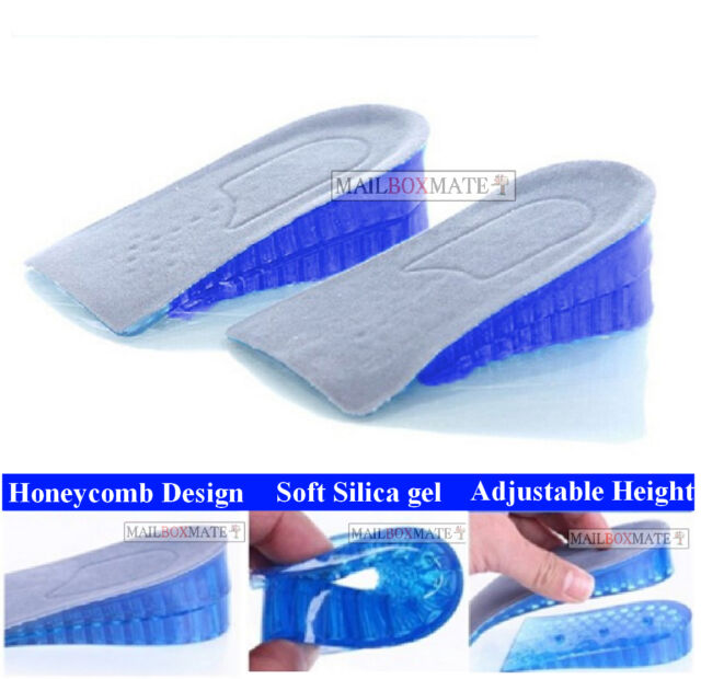 Unisex Honeycomb Gel Heel Lifts Height Increase Insoles Shoe Inserts Pads H1