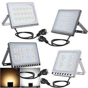LED-Fluter-Mit-Stecker-20W-30W-50W-100W-Lampe-Aussen-Strahler-IP65-Ultra-duenn