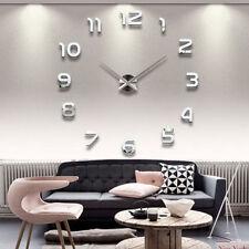New DIY Large 3D Number Mirror Wall Sticker Big Watch Home Decor Art Clock