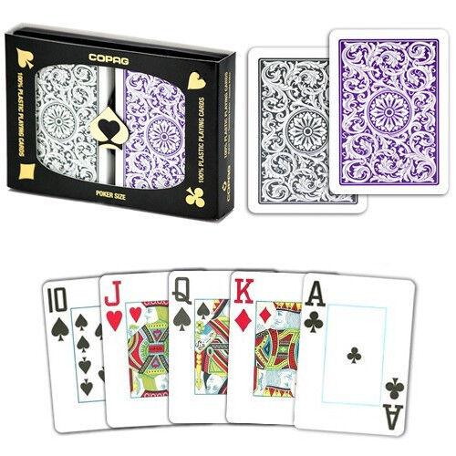 1 Dozen Purple Grey COPAG Plastic Playing Cards Poker Jumbo Wholesale Bulk Lot