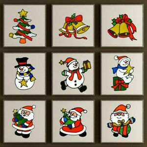 2-X-Window-Decals-Christmas-Decor-Santa-Claus-Snowflake-Tiles-Wall-Stickers-DIY