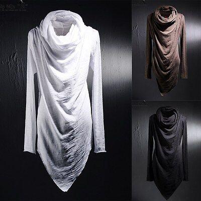 BytheR Men's Cotton Turtle-neck Unique Niche T-shirts K-pop Korean Fashion AU