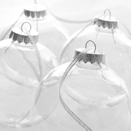 """67mm Clear Fillable Seamless Plastic /""""Glass Style/"""" Baubles Craft  Christmas"""
