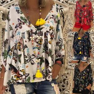 Damen 3//4 Arm Locker V-Ausschintt Bluse Shirt T-Shirt Oberteile Tops Freizeit LP