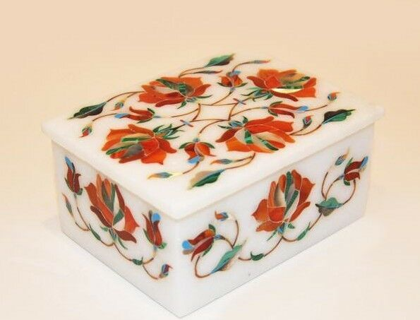 Marble jewelry Box floral semi precious stones inlay art decor