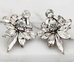 BOHO-Fashion-White-Crystal-Ear-Drop-Dangle-Stud-long-Ancient-Silver-Earrings-279