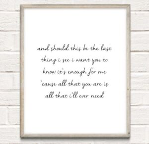 A4 Ed Sheeran Lyrics Typography Print Song Quote Gift Home UNFRAMED Tenerife Sea - Telford, United Kingdom - A4 Ed Sheeran Lyrics Typography Print Song Quote Gift Home UNFRAMED Tenerife Sea - Telford, United Kingdom