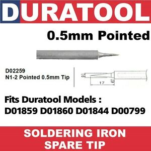 0-5mm-Pointed-Soldering-Iron-Spare-Tip-Duratool-D01859-D01860-D01844-D00799