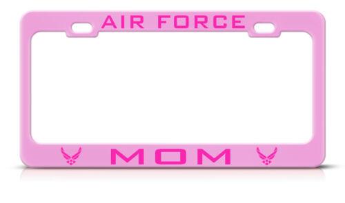 AIR FORCE MOM METAL SOFT PINK License Plate Frame Tag Border PINK LETTERING
