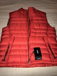 Details about NEW Authentic HUGO BOSS Black Label Men Red Real Down Puffy  Vest 40R Large $395