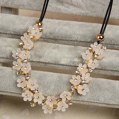 Women Crystal Flower Charm Choker Chunky Statement Bib Chain Necklace Party Gift