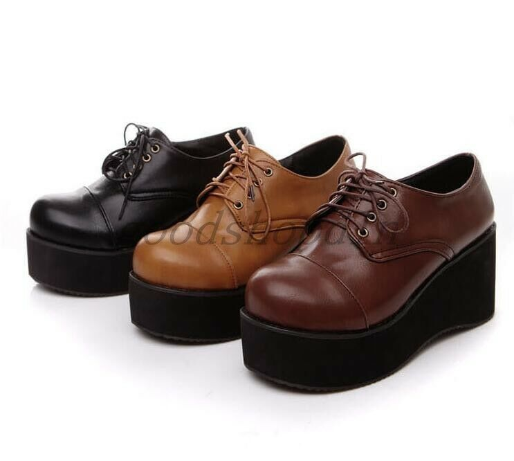 College Style Womens Round Toe Lace UP Flats Heels Creepers Shoes Platform Size