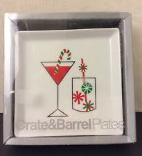 NEW Crate & Barrel Candy Cane Cocktail Plates Set Of Four 4 Dessert With Box