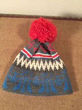 Vintage Beautiful Wool Winter Hat Pom Top Gray Top Notch Knits Clean Handmade US