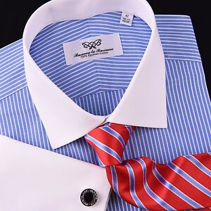 Mini-Blue-Stripes-Formal-Business-Striped-Dress-Shirt-White-French-Cuff-Luxury