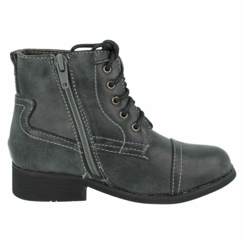Girls Cutie Black synthetic lace up casual ankle boot small block heel H4063