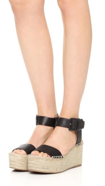 60d0348ed9e0 Vince Abby Black Leather Platform Jute Espadrille Wedge Sandals Boho Chic  39 9