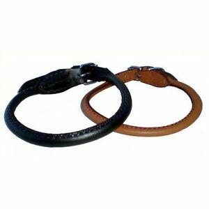 OFFER-Koko-Rolled-Leather-Dog-Collar-Lead-Black-or-Brown-Sizes-12-26-inch