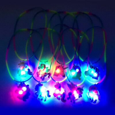Unicorn LED Light Up Necklace Birthday Party Bag Filler Rainbow Kids Favors Gift
