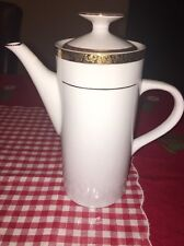 "Sango Empress Gold Coffee Pot Tea Pot #8453 9"" tall with lid White & Gold"