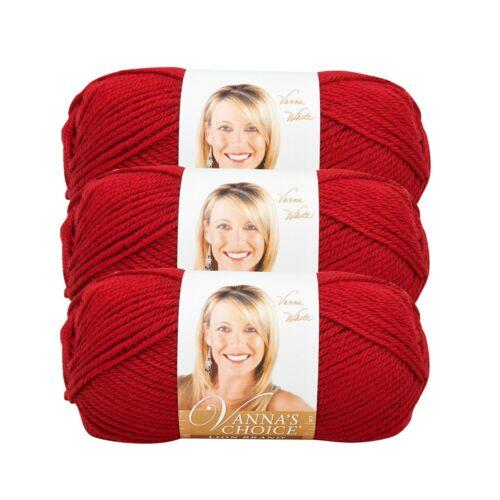 Lion Brand Yarn 860-180 Vanna/'s Choice Yarn Cranberry Pack of 3 skeins