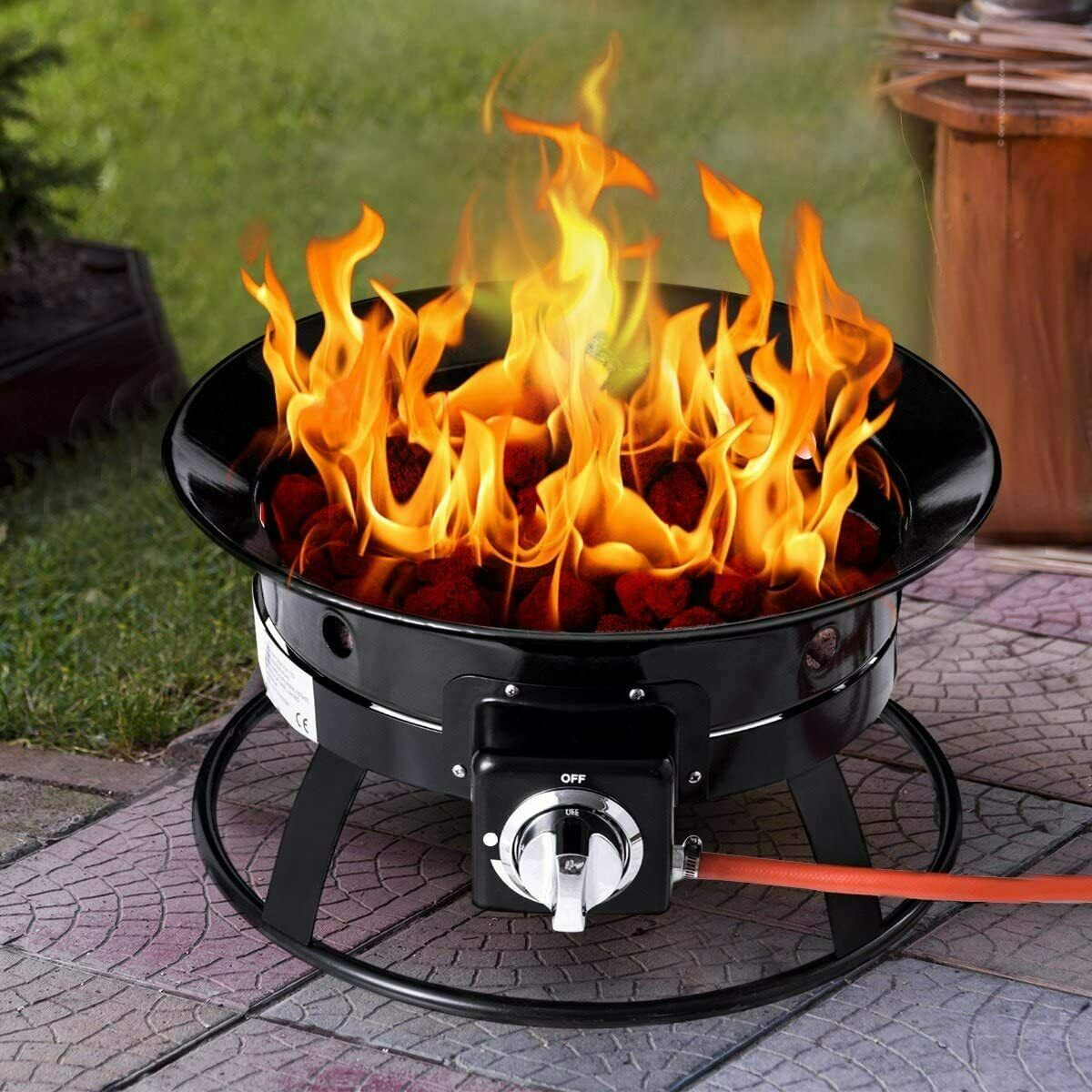 Portable Outdoor Gas Fire Pit with Lava Rocks, Gas regulator, hose and cover