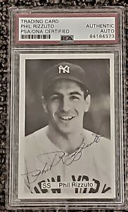 Phil-Rizzuto-Autographed-Signed-card-Hall-of-Fame-PSA-HOF-New-York-NY-Yankees