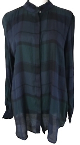 NWT-ANN-TAYLOR-LOFT-Navy-Green-Plaid-Long-Sleeve-Blouse-Top-Women-039-s-Size-L