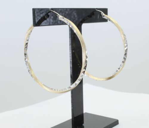 14K Yellow White 2 Tone Gold 2.6mm Thick Dia Cut Satin Hinged Hoop Earrings 45mm