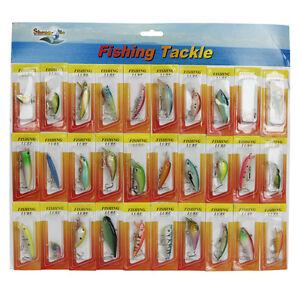 New USA Lot 30 pcs Kinds of Fishing Lures Crankbaits Hooks Minnow Baits Tackle