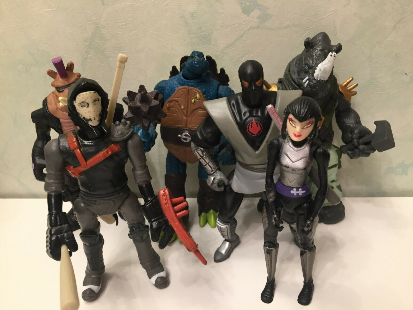 Lot 6 Ninja Turtles Karai Bebop Casey Jones loose Nickelodeon Playmates Mutation