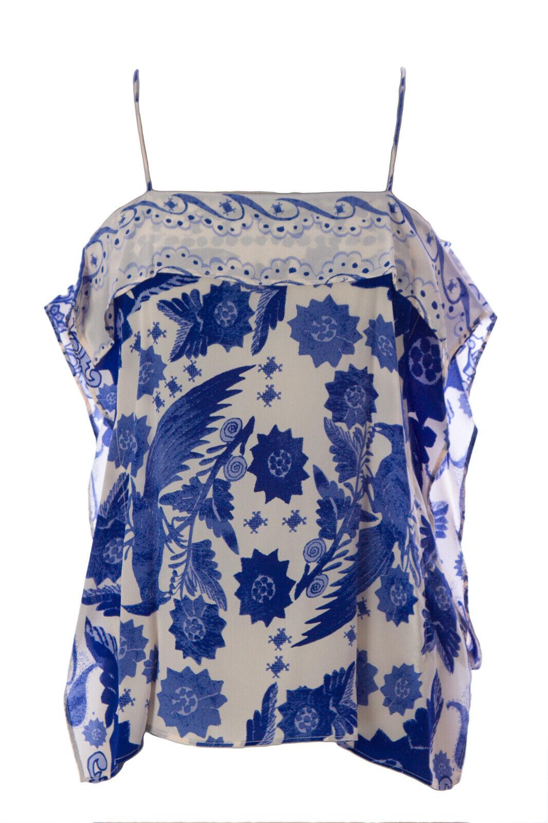 REBECCA MINKOFF Woherren Indigo Blau Silk Floral Print Yuko Top  NWT